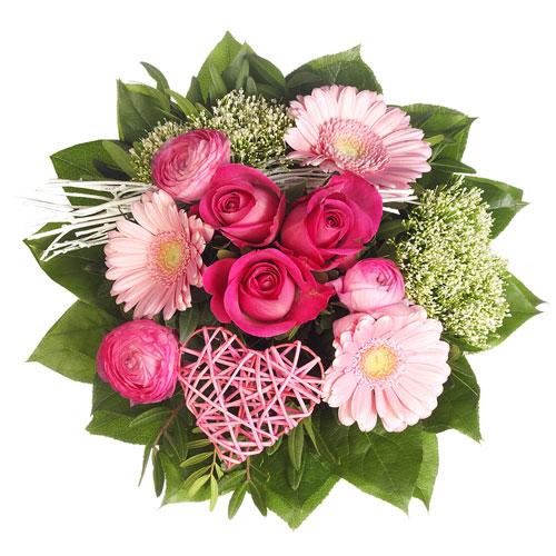 Blumenstrauß mit pinkfarbenen Rosen, rosa Gerbera und Dekoherz