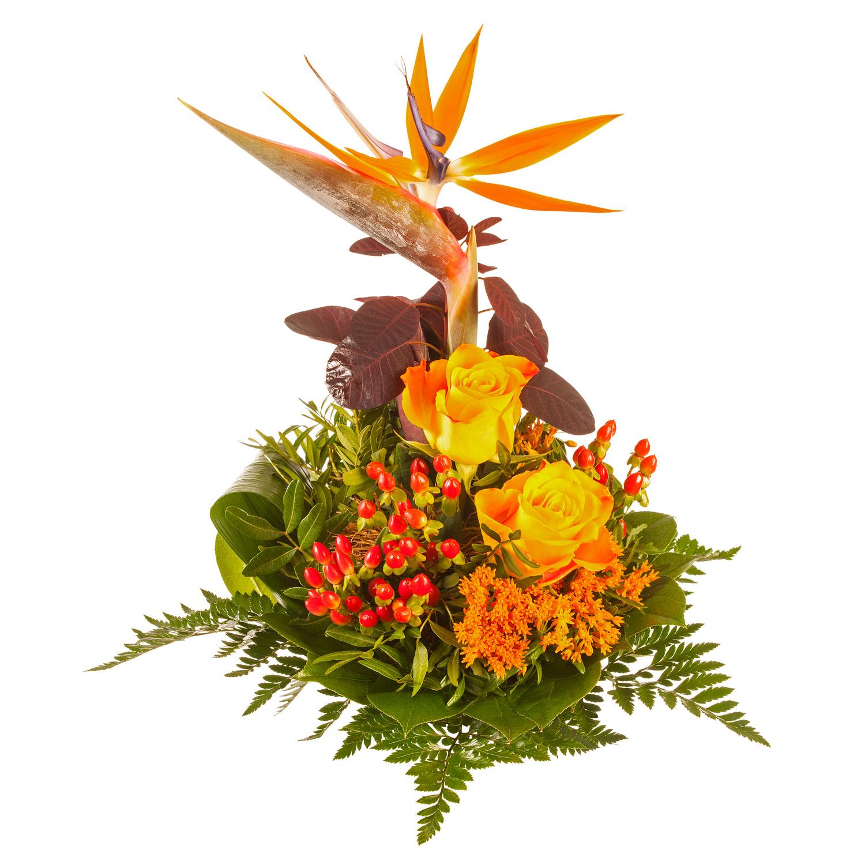 Blumenstrauß mit Strelitzie und Rosen